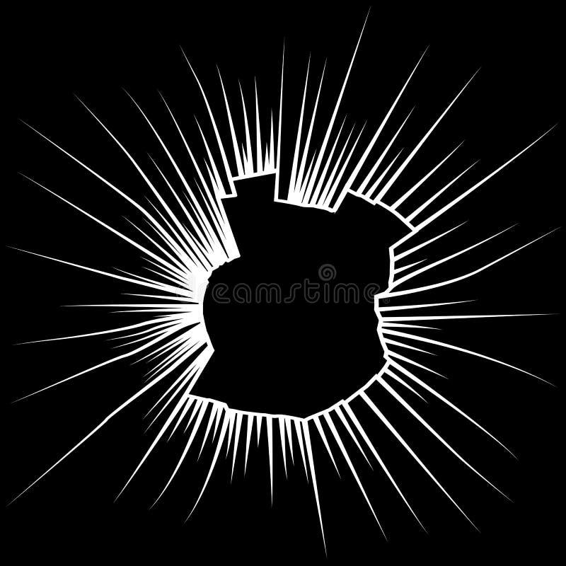 Radiale barsten op gebroken zwart glas Vector royalty-vrije illustratie