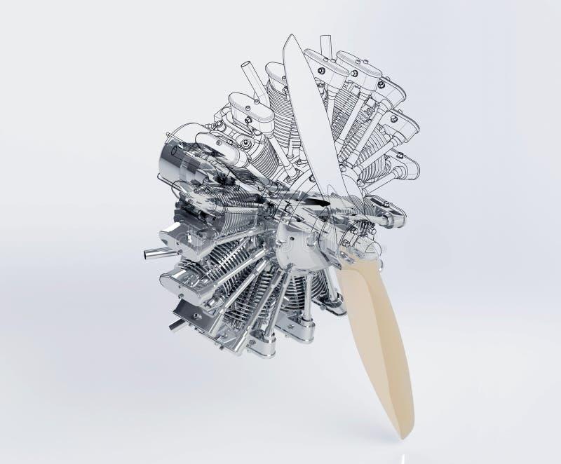Radiale motor met een propeller royalty-vrije illustratie