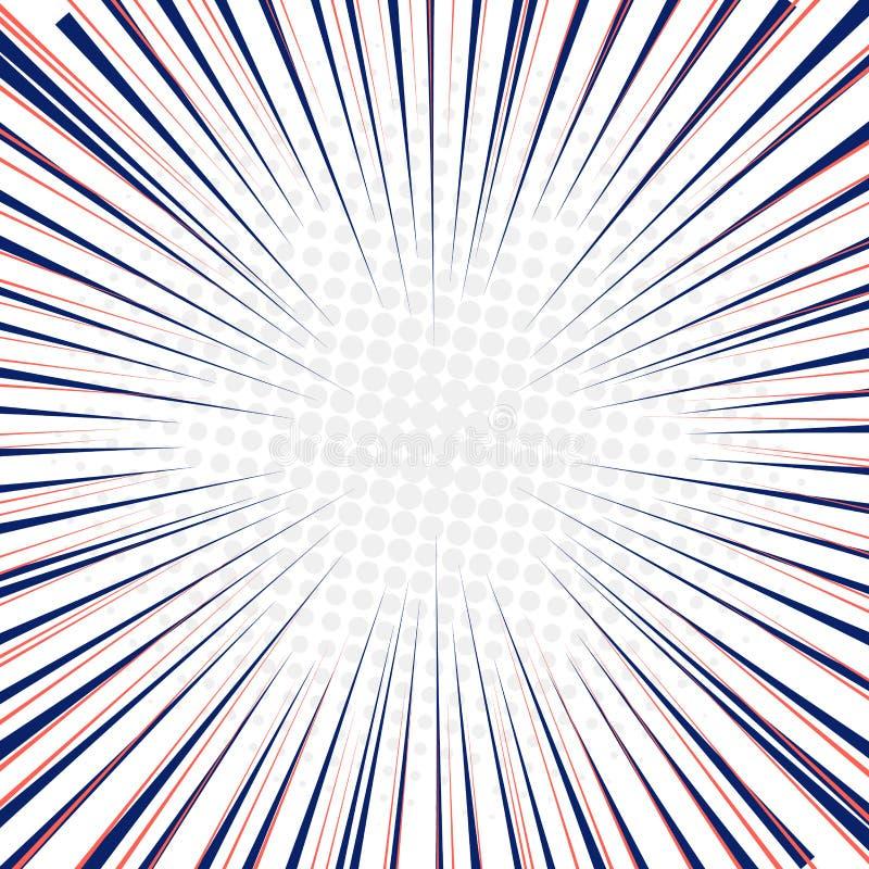 Radiale snelle de motieachtergrond van snelheidslijnen met halftone cirkels vector illustratie