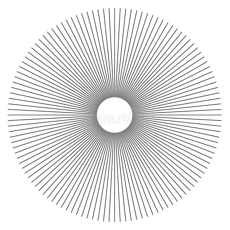 Radiallinien geometrisches Element der Zusammenfassung Speichen, Streifen ausstrahlend lizenzfreie abbildung