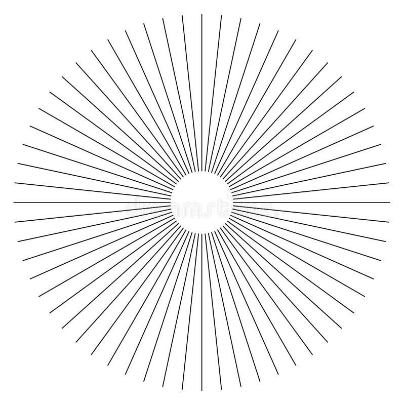 Radiallinien geometrisches Element der Zusammenfassung Speichen, Streifen ausstrahlend stock abbildung