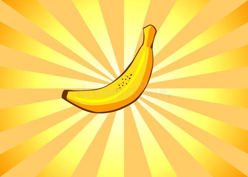 Radiant Banana. Banana on a radiant cartoon background stock illustration