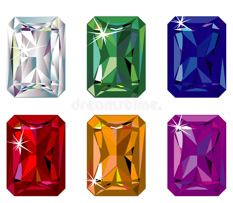 Radiant cut precious stones with sparkle. Illustration of radiant cut precious stones with sparkle royalty free illustration