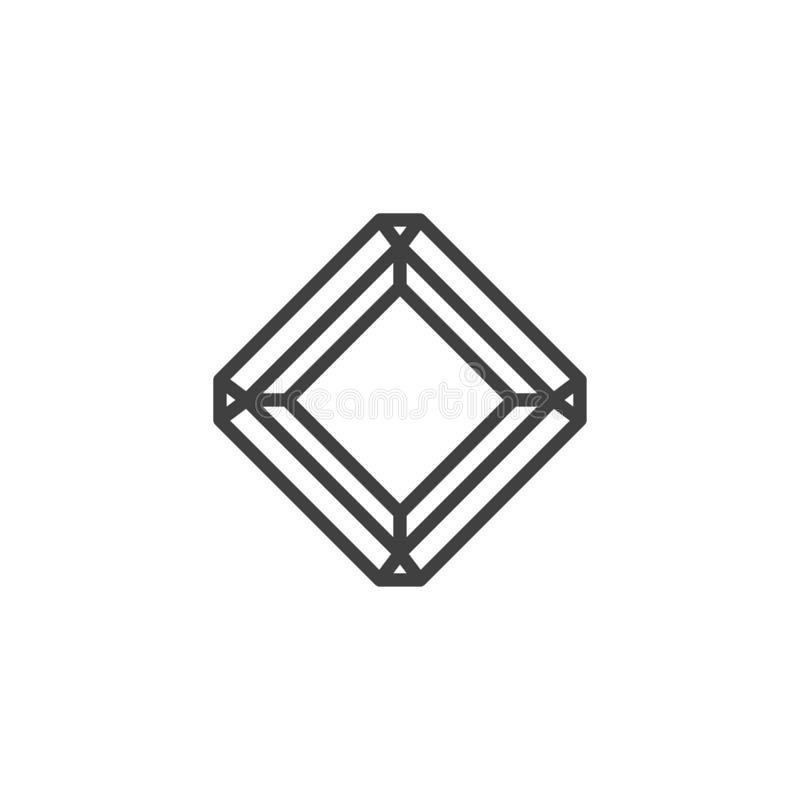 Radiant diamond line icon. Square gemstone linear style sign for mobile concept and web design. Precious stone, gem outline vector icon. Symbol, logo vector illustration