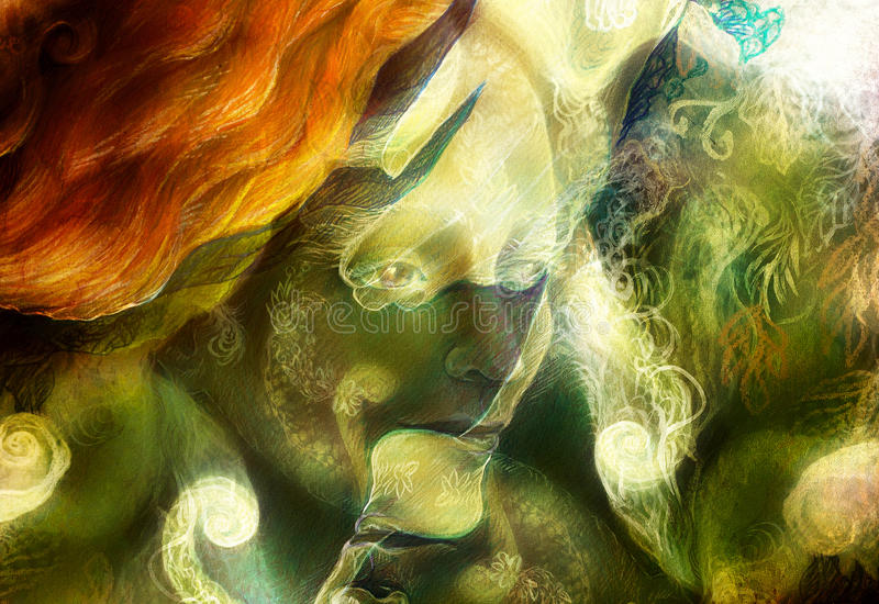 Radiant elven fairy woman creature and energy lights. collage stock illustration