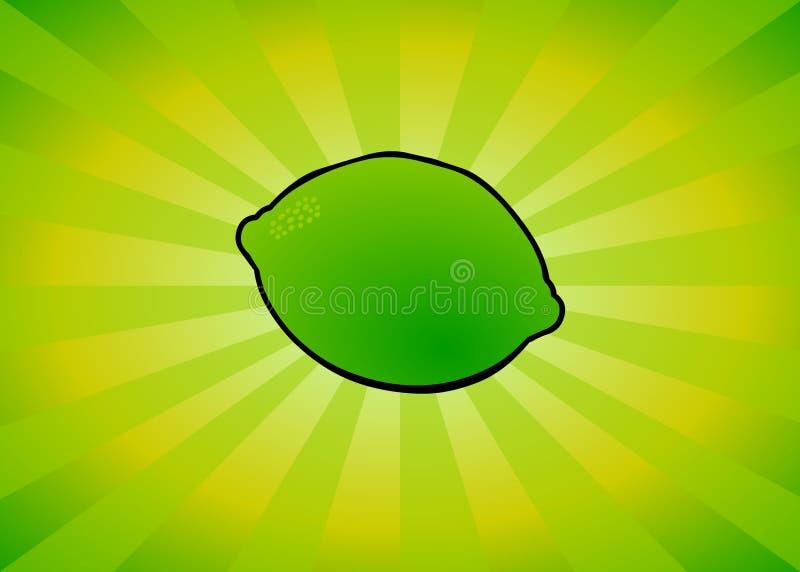 Radiant Lime. Lime on a radiant cartoon background royalty free illustration