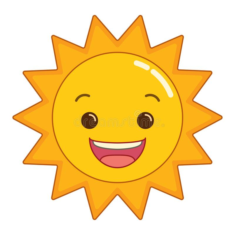 Radiant Smiling Cartoon Sun. Clean stylized vector image of a radiant happy cartoon sun smiling wide on an isolated white background vector illustration