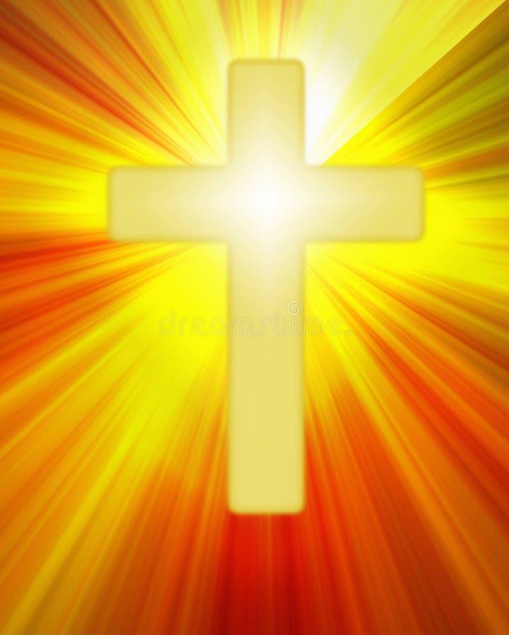 Radiant yellow cross symbol on bright rays royalty free illustration