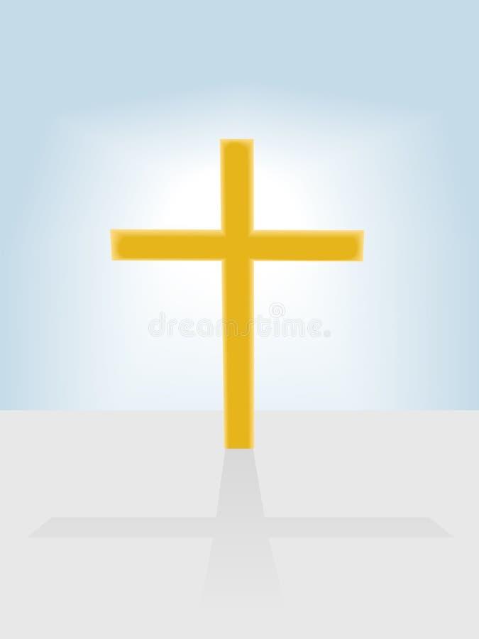 Radiante Cruzado Cristiano En Fondo Del Cielo Azul Foto de archivo