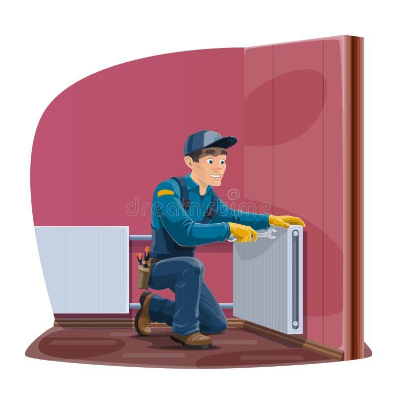 Radiateur à la maison et service des réparations de chauffage de convecteur illustration stock