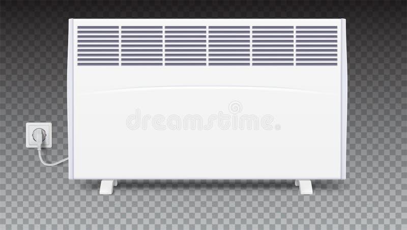 Radiateur électrique domestique avec la prise et la corde électrique Icône du convecteur à la maison, illustration 3D Panneau éle illustration stock