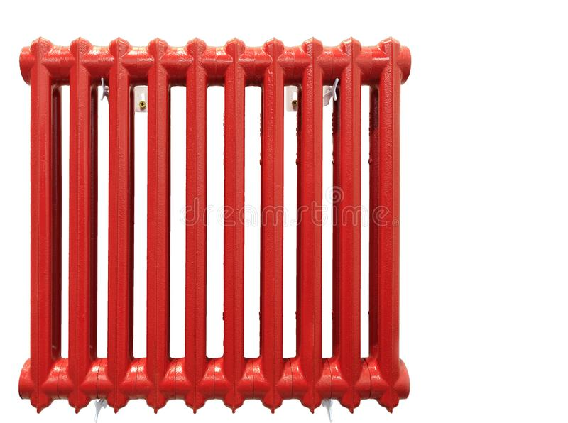 Radiateur de chauffage Rétro système de chauffage d'isolement sur le fond blanc photo libre de droits