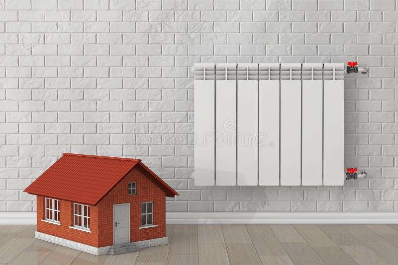 radiateur moderne de chauffage avec la maison photo stock. Black Bedroom Furniture Sets. Home Design Ideas