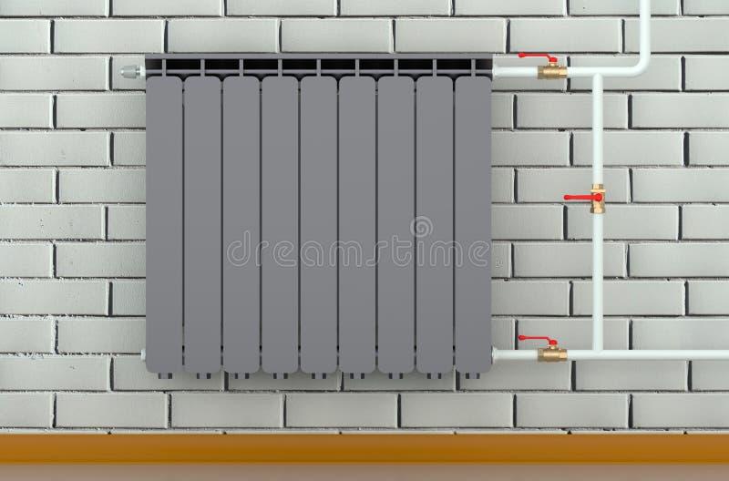 Radiateur noir de chauffage dans une chambre illustration libre de droits