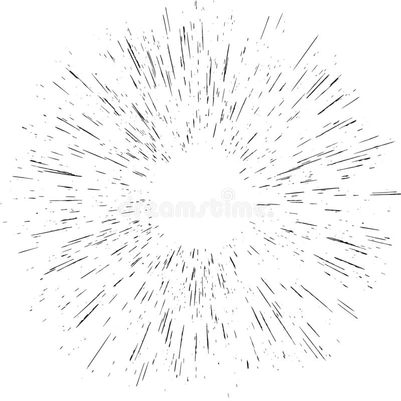 Radiating from the center burst light rays object element effect isolated. Abstract explosion or speed motion. EPS 10. Vector file stock illustration