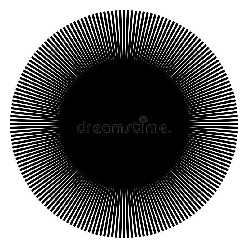 Radiating, radial lines. Starburst, sunburst shape. Ray, beam li stock illustration