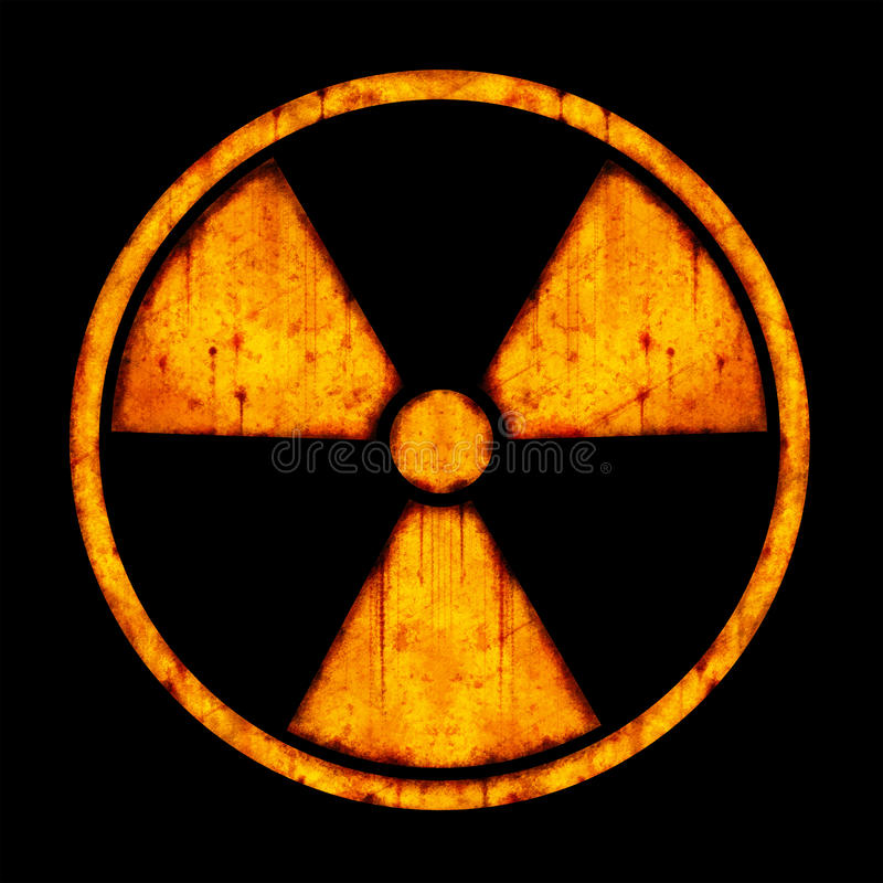 Radiation – round sign. With blots and stains on black background royalty free illustration