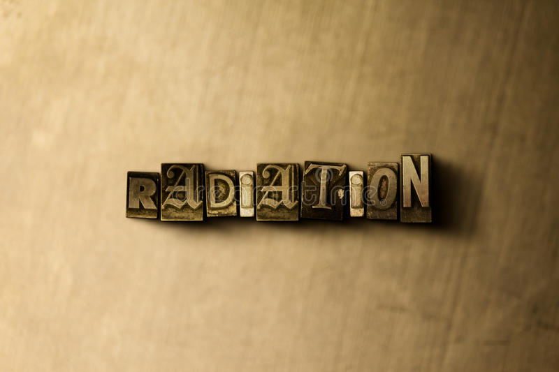 RADIATION - close-up of grungy vintage typeset word on metal backdrop stock photos