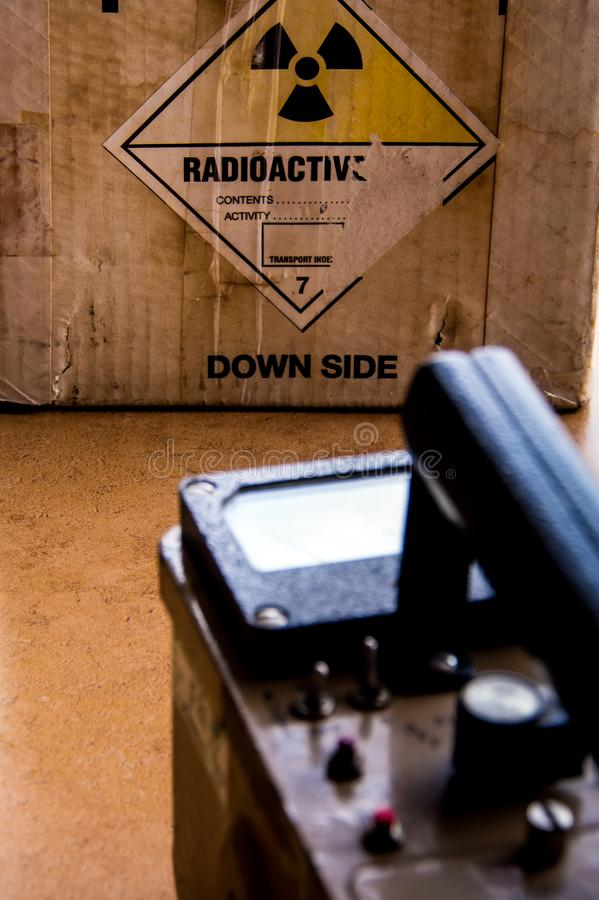 Radiation measuring with radiation survey meter. Radiation exposure measurement with radiation survey meter royalty free stock photography