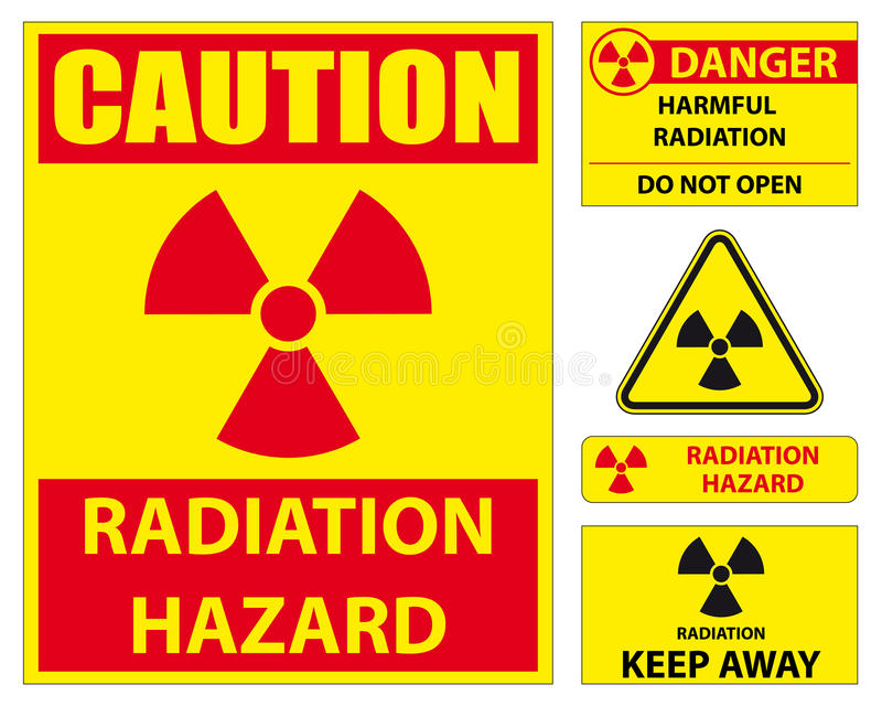 Radiation hazard sign set. Set of radiation hazard signs royalty free illustration