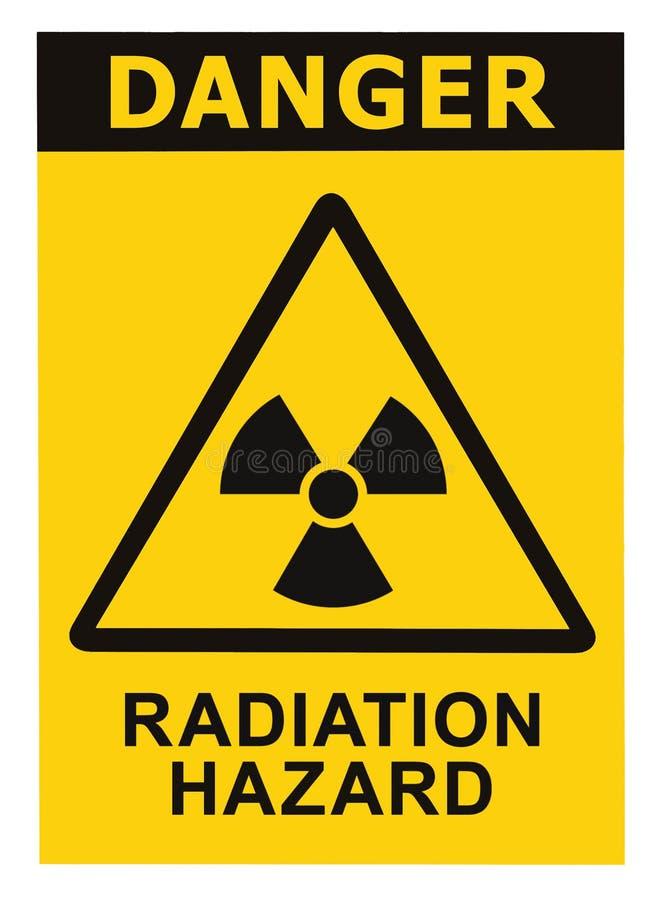 Radiation hazard symbol sign radhaz alert icon. Radiation hazard symbol sign of radhaz threat alert icon, black yellow triangle signage text isolated stock photography