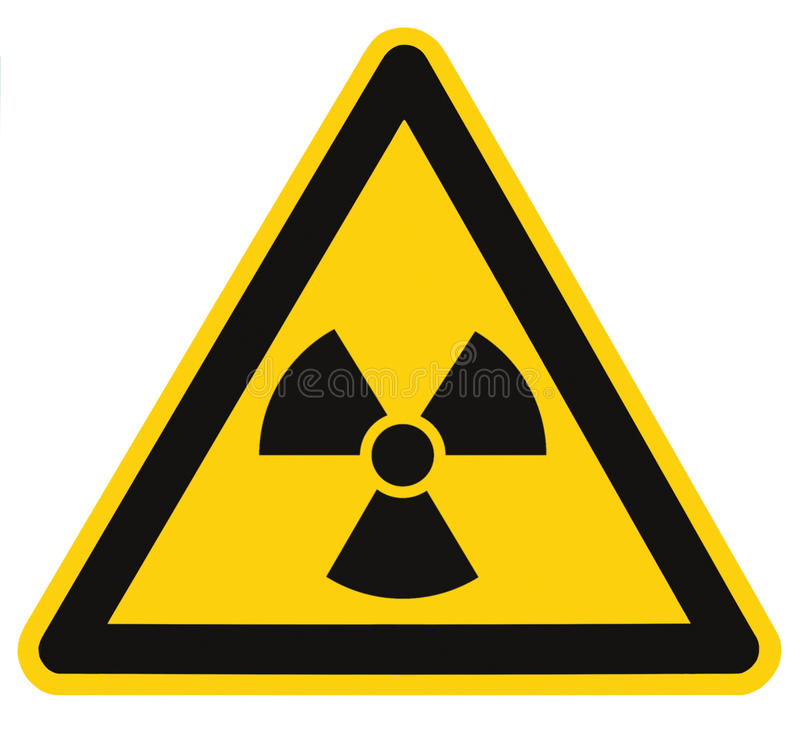 Radiation hazard symbol sign of radhaz threat alert icon, isolated black yellow triangle signage label macro, large detailed stock illustration