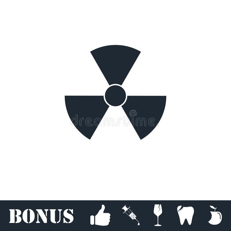 Radiation icon flat. Vector illustration symbol and bonus pictogram royalty free illustration