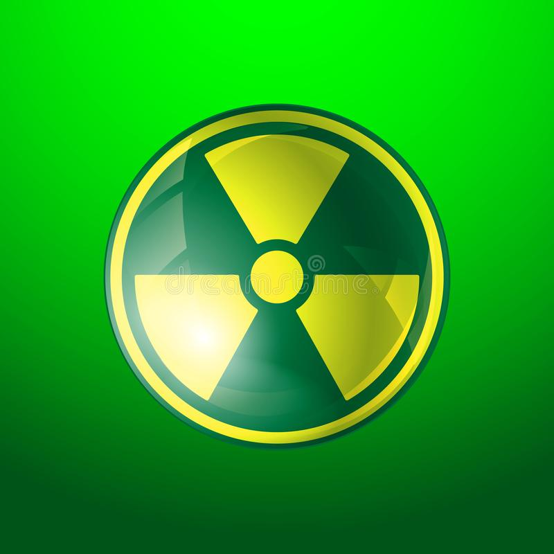 Radiation icon. Radioactivity symbol isolated on green background vector illustration