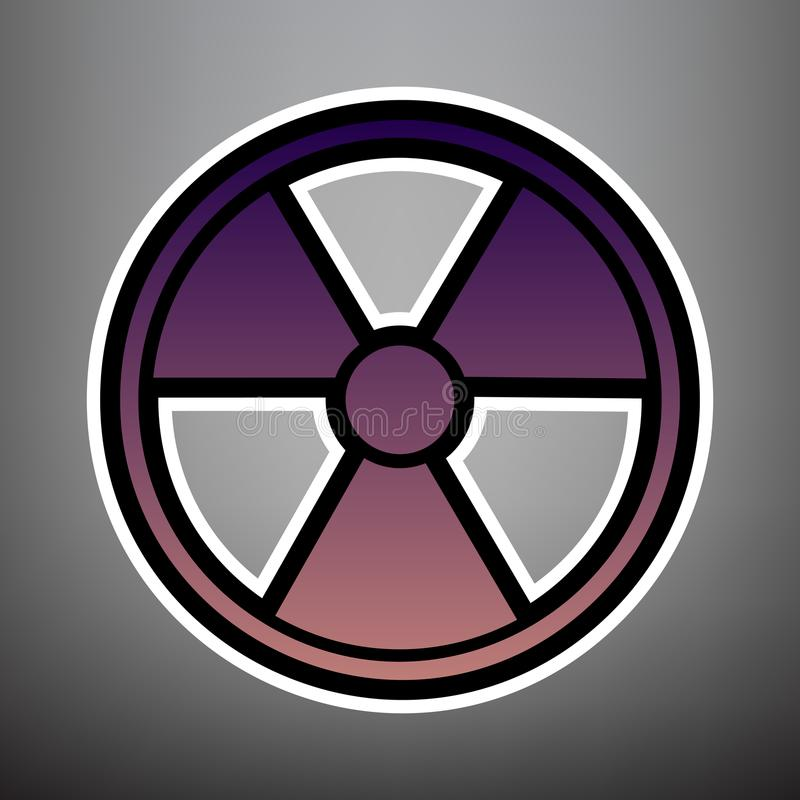 Radiation Round sign. Vector. Violet gradient icon with black an vector illustration