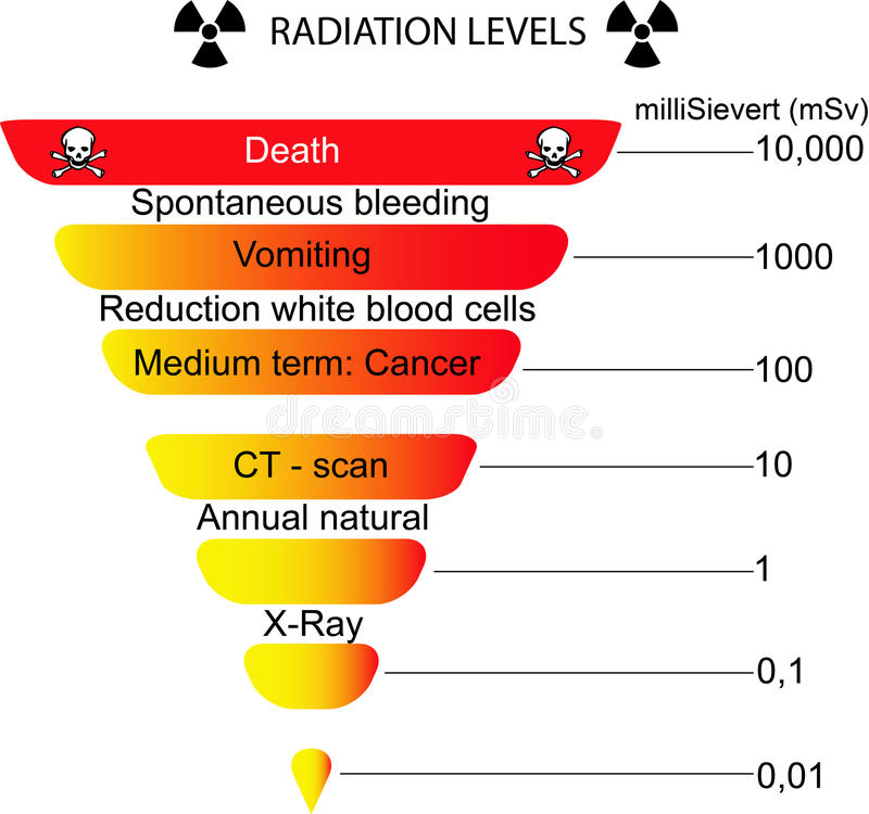 Radiation scale diagram. A clear diagram of the radiation levels and danger effects of exposure to radiation royalty free illustration