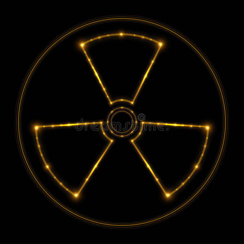 Radiation sign, glowing lines. Vector vector illustration