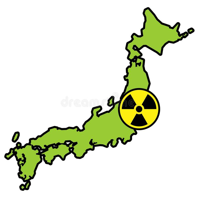 Radiation Sign On Map Of Japan Stock Photo