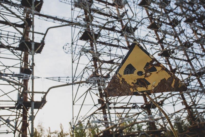 Radiation sign near telecommunication radio center in Chernobyl. stock photography