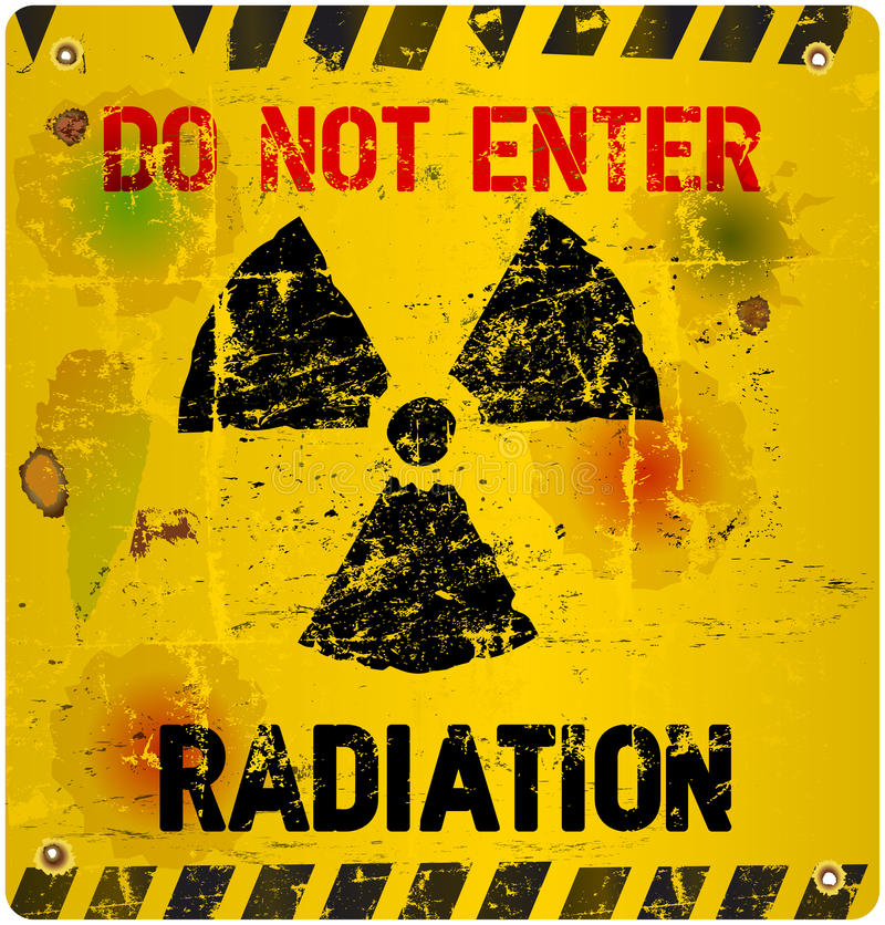 Radiation warning,. Grungy industrial style vector illustration vector illustration