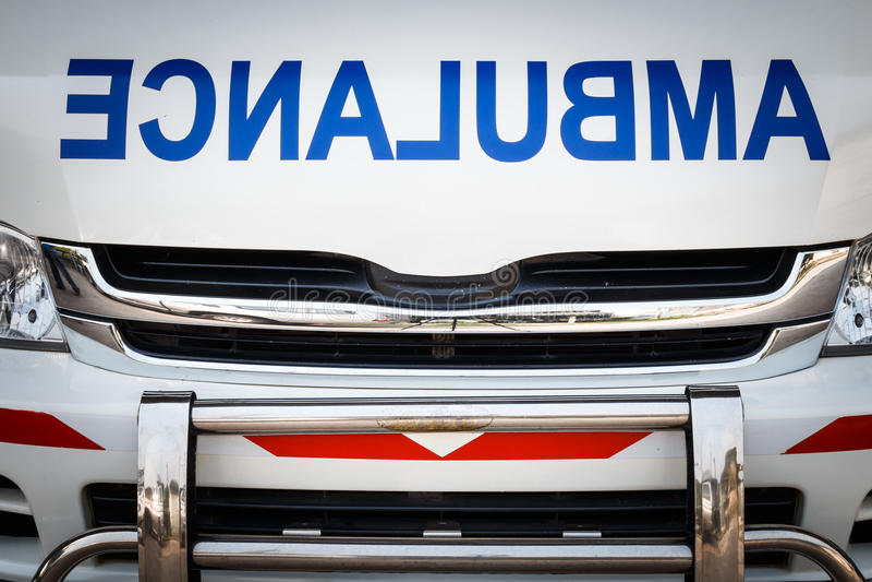 Radiator bonnet of ambulance ( reverse alphabet ) ( vignette style ) stock image