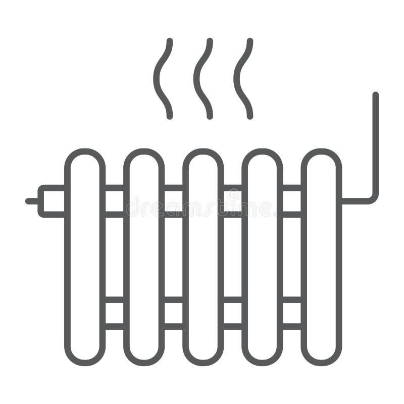 Radiator die dun lijnpictogram, Onroerende goederenhuis verwarmen royalty-vrije illustratie