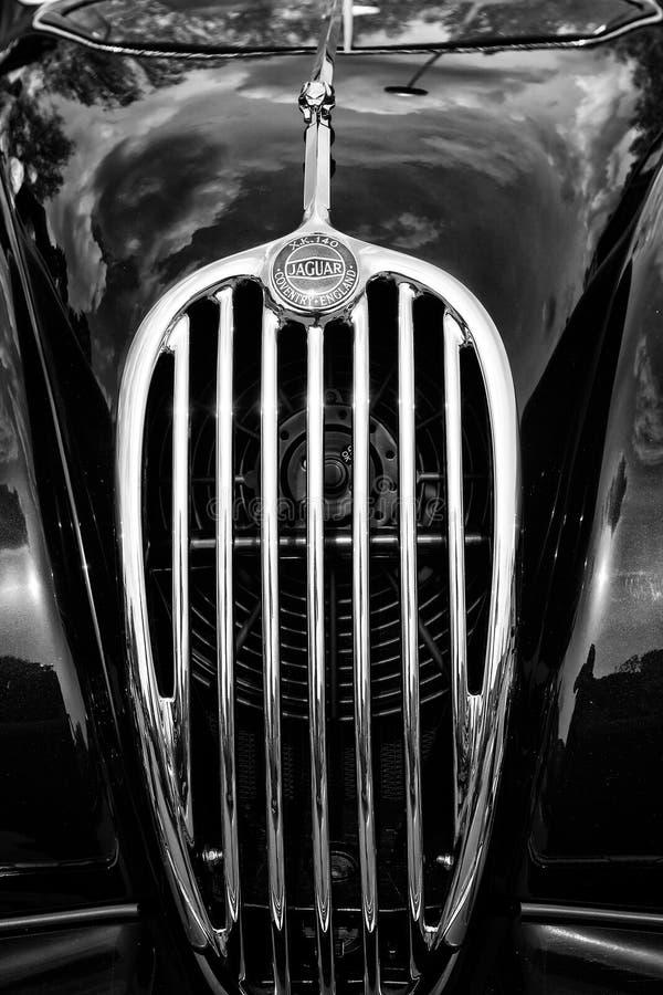 Radiator (engine cooling) sports car Jaguar XK140 Roadster, (black and white). BERLIN - MAY 11: Radiator (engine cooling) sports car Jaguar XK140 Roadster, ( royalty free stock photo
