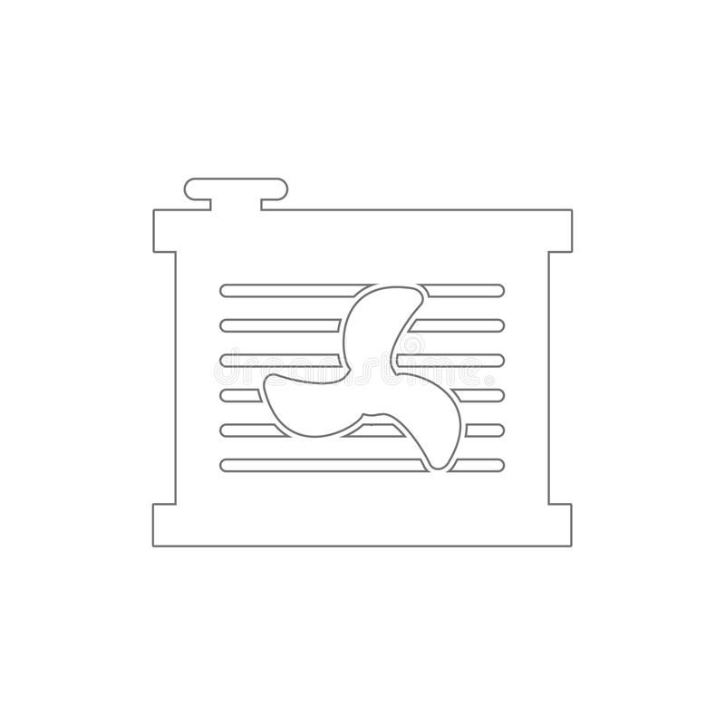 Radiator fan outline icon. Elements of car repair illustration icon. Signs and symbols can be used for web, logo, mobile app, UI,. UX on white background stock illustration