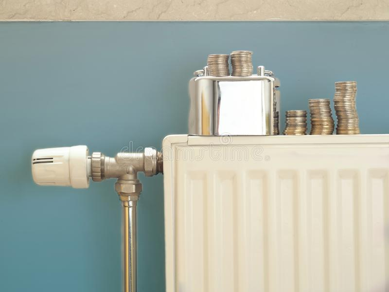Radiators in the house. concept photo about warming-related insulation and saving money.  stock image