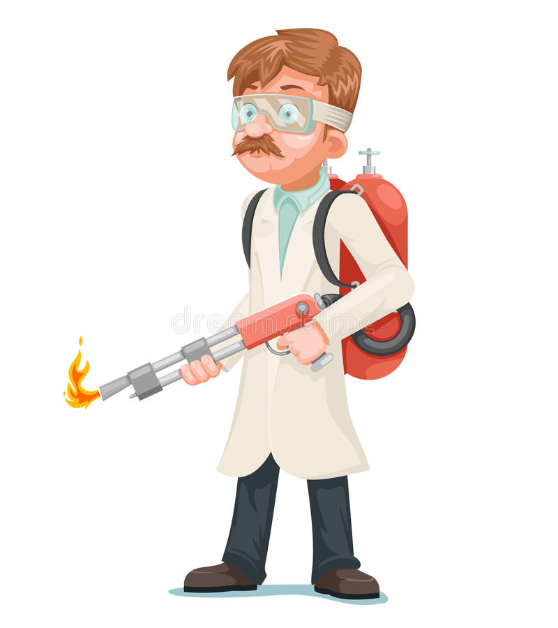 Radical cleaning mad scientist with flamethrower cleansing purification by fire destruction science cartoon character. Radical cleaning mad scientist royalty free illustration
