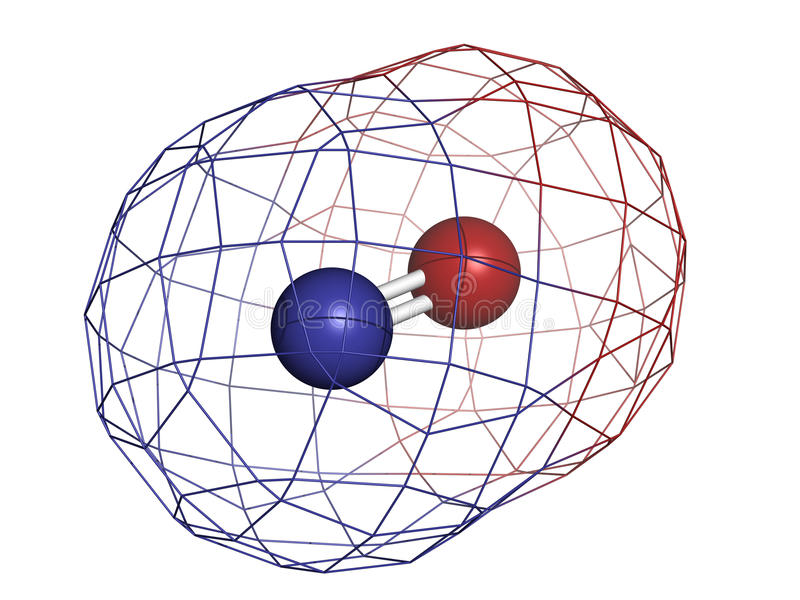 Radical libre nítrico del óxido (NO) y molécula de la señalización stock de ilustración