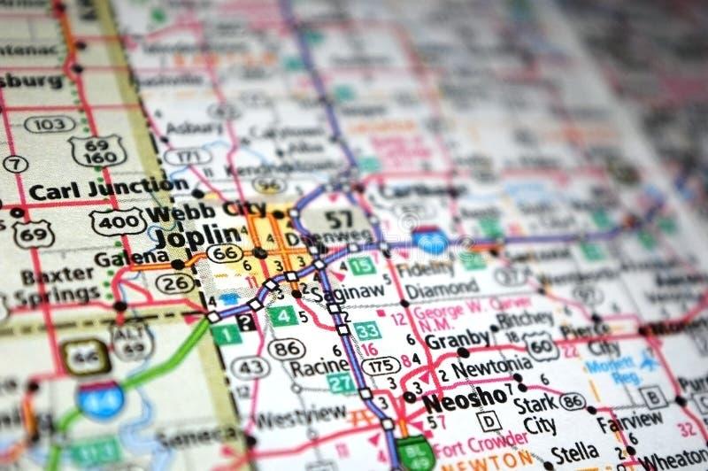 Radicale di Joplin, Missouri in una mappa immagini stock libere da diritti