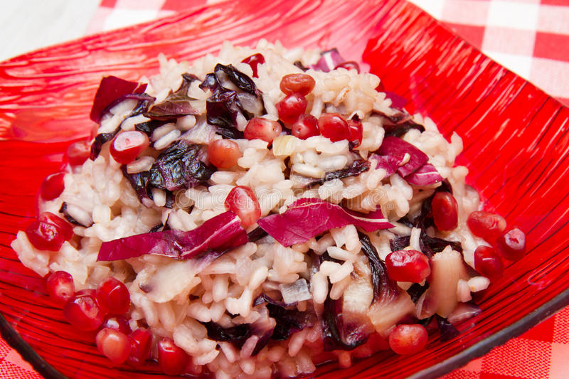 Radicchio risotto on dish royalty free stock photos