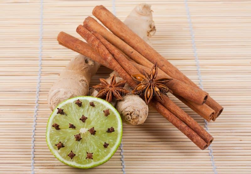 Radice, anice, cannella, calce e chiodi di garofano dello zenzero fotografie stock