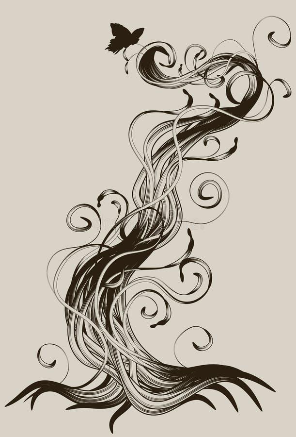 Radice astratta dettagliata disegnata a mano illustrazione vettoriale
