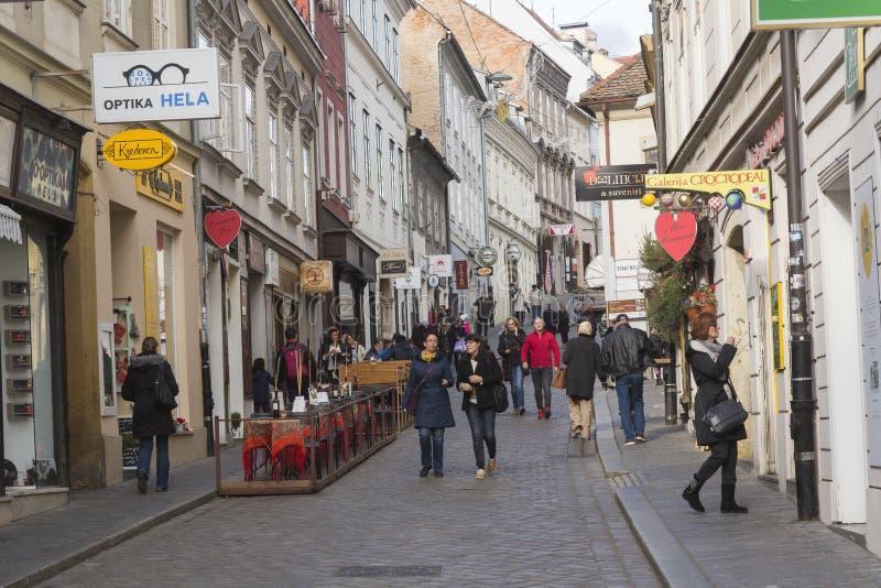 Radiceva街道在老镇在萨格勒布,克罗地亚 库存图片