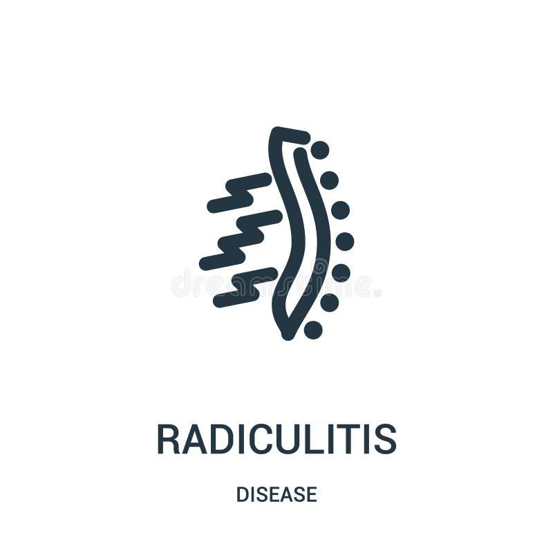 radiculitissymbolsvektor från sjukdomsamling Tunn linje illustration för vektor för radiculitisöversiktssymbol Linjärt symbol för stock illustrationer