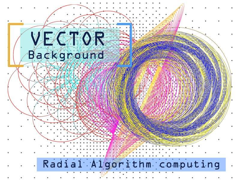 Radiell algoritm som beräknar Kryptografi för konstgjord intelligens royaltyfri illustrationer