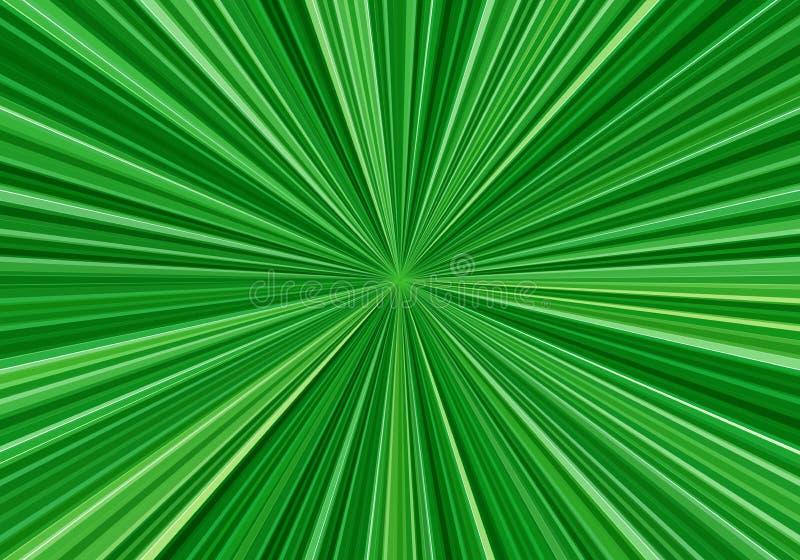 Radiell hastighet fodrar med fokusen i mitten Abstrakt fractalbakgrund med ljust - gröna strålar Zoomeffekt vektor illustrationer