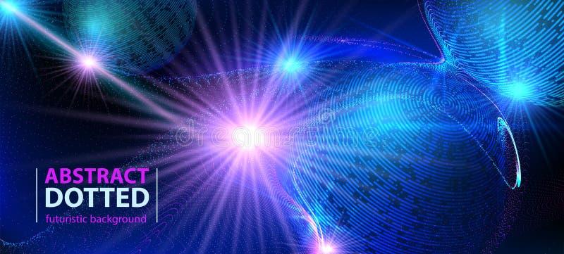 Radiell ljus brusten effekt för abstrakt neon för teknologi futuristiskt blått Rastrerade Digital beståndsdelcirklar royaltyfri illustrationer